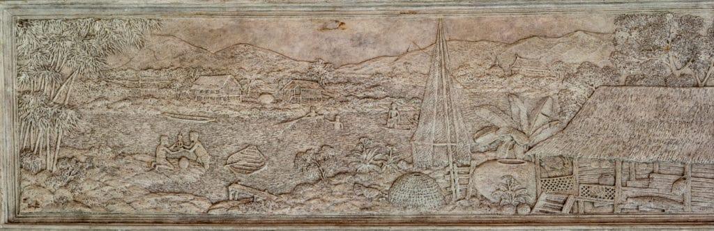 Großes Relief mit der Darstellung der Geschichte des Buddhas