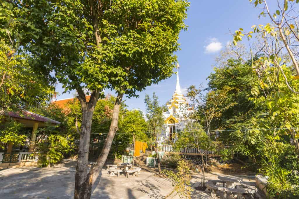Stupa mit Bäumen im Tempel