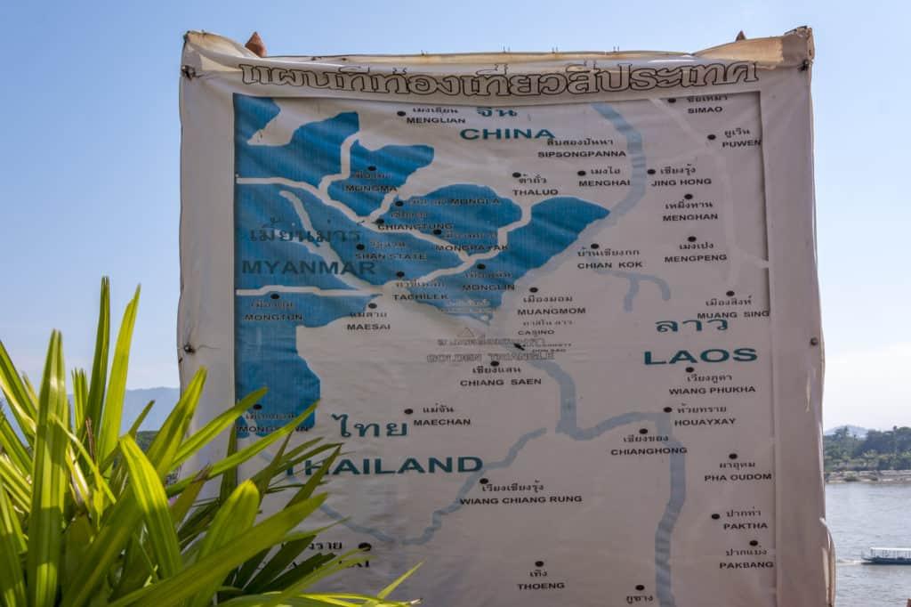 Das Goldene Dreieck in Thailand auf einer Übersichtskarte