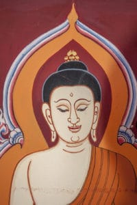 Abbild Buddh als Wandmalerei