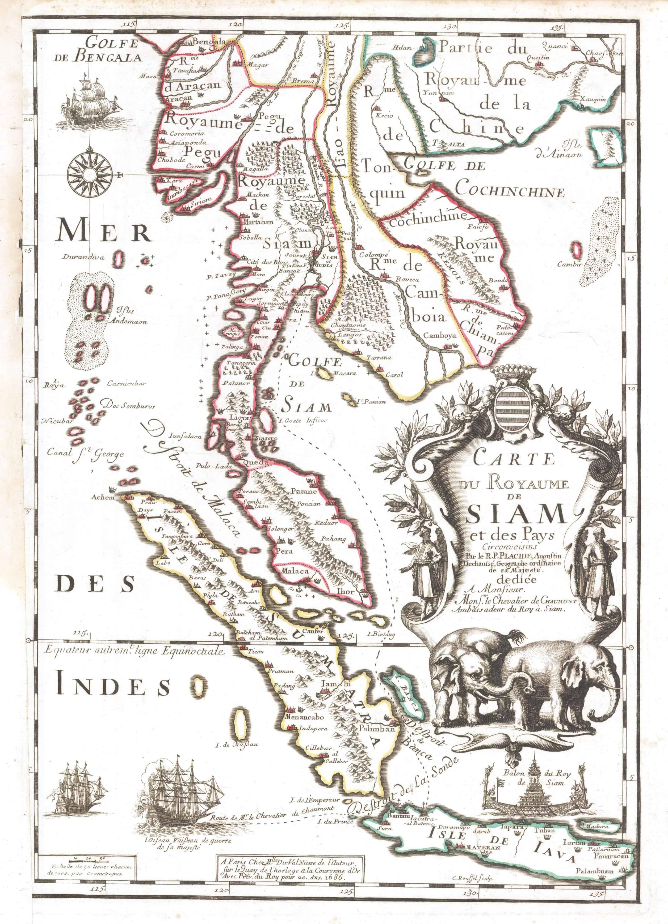 Historische Karte des alten Siam