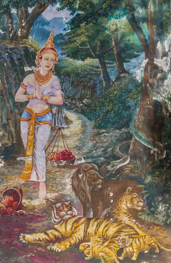 Wandmalerei im Wat Khao Phra Angkhan mit Löwe und Tigern