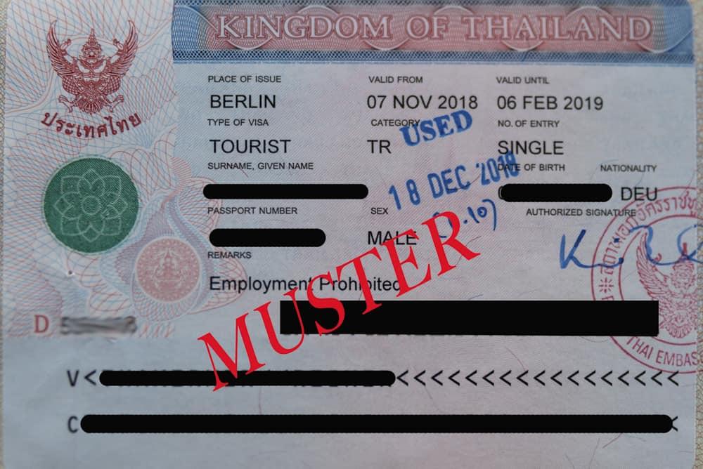 Muster des Visum für das Königreich Thailand