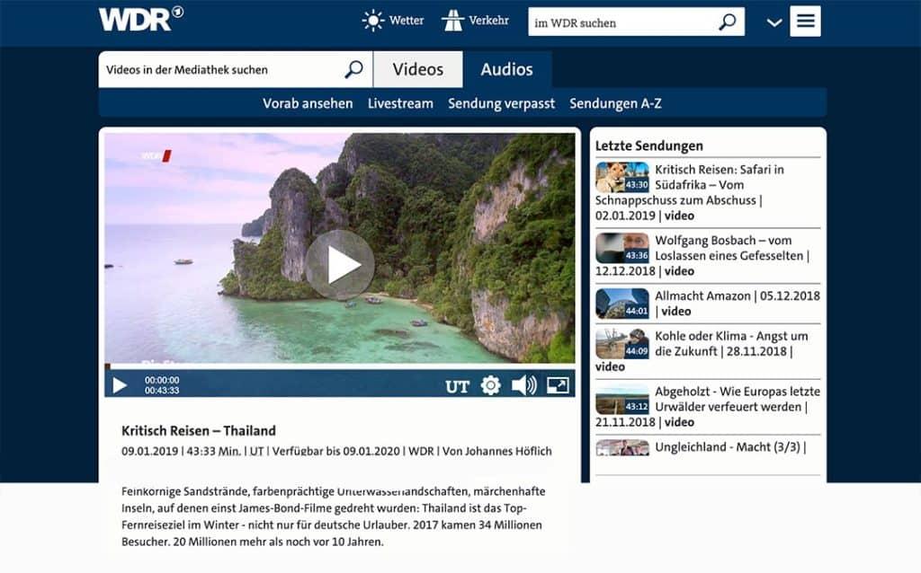 WDR Mediathek Bildschirmfoto