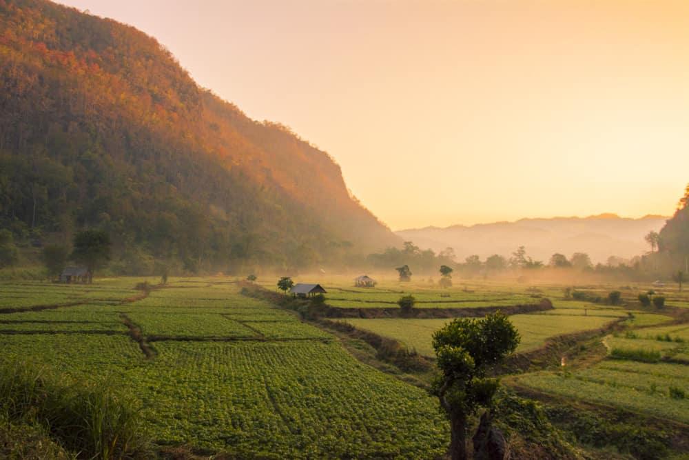 Sonnenaufgang auf dem Weg zur Höhle Tam Pla