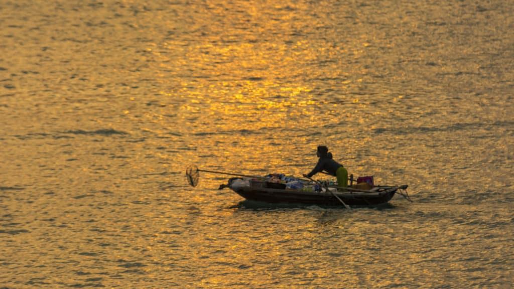 Foto Reiseblog Sonnenuntergang Halong Bucht