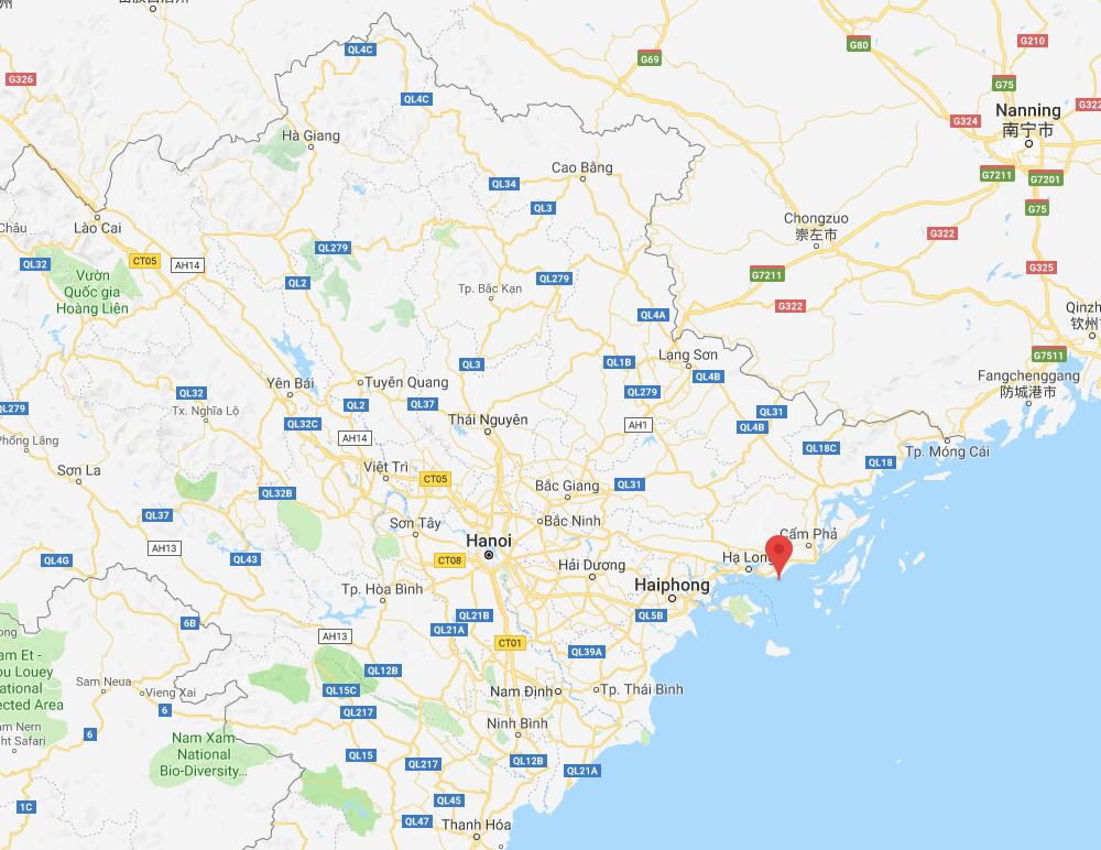 Die Lage der Halong Bucht auf Höhe von Hanoi