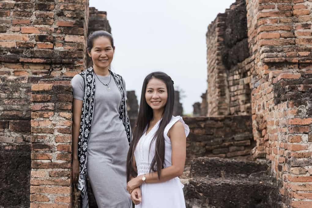 Portraitaufnahme historisches Gebäude in Sukhothai