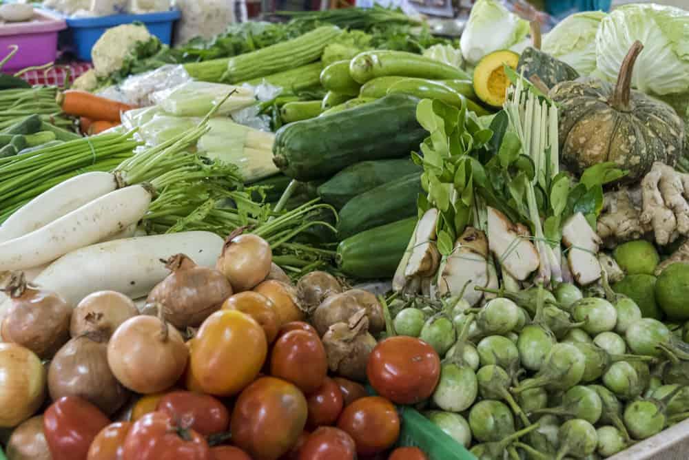 Gemüse auf dem Markt in Sukhothai