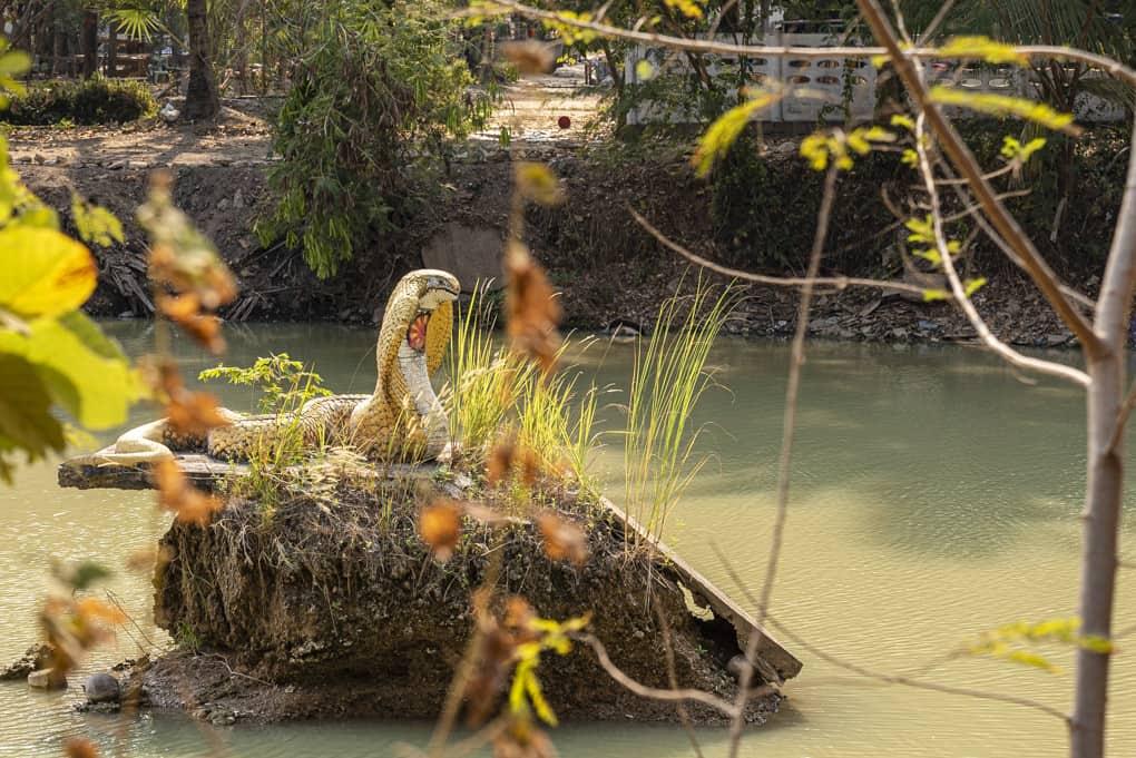 Naga Schlange im See vom Wat Mai Charoenphol