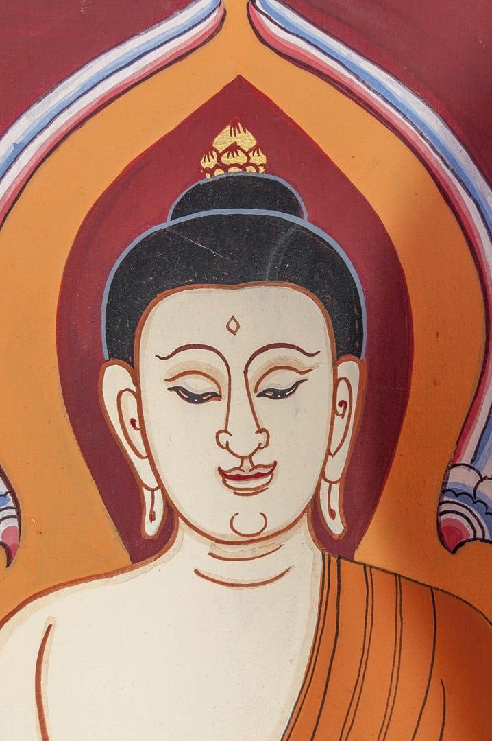 Buddha-Kopf Darstellung mit Haarknoten