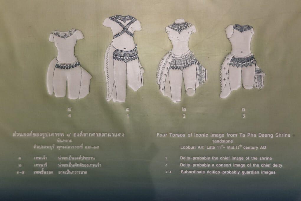 Grafik der vier gefundenen Statuen im Ta Pha Daeng Schrein