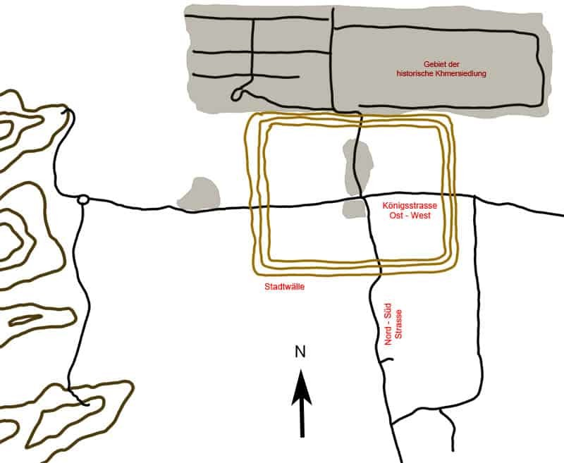 Karte der historischen Khmer-Siedlung