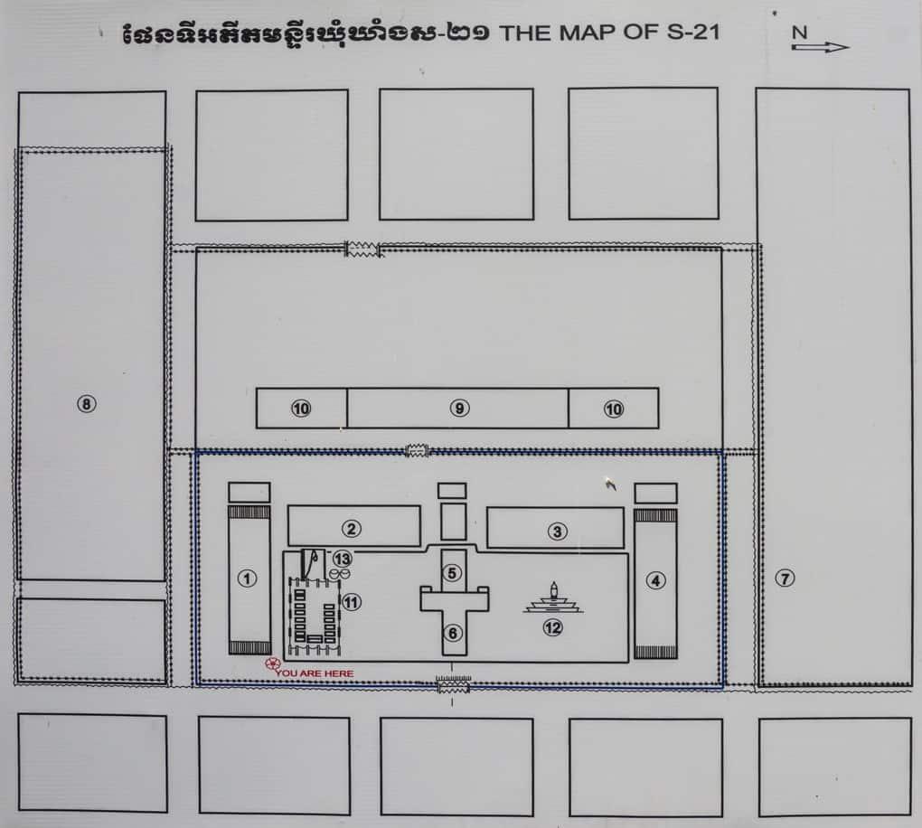 Lageplan des Gefängnis S-21 und des Tuol-Sleng-Genozidmuseums in Phnom Penh