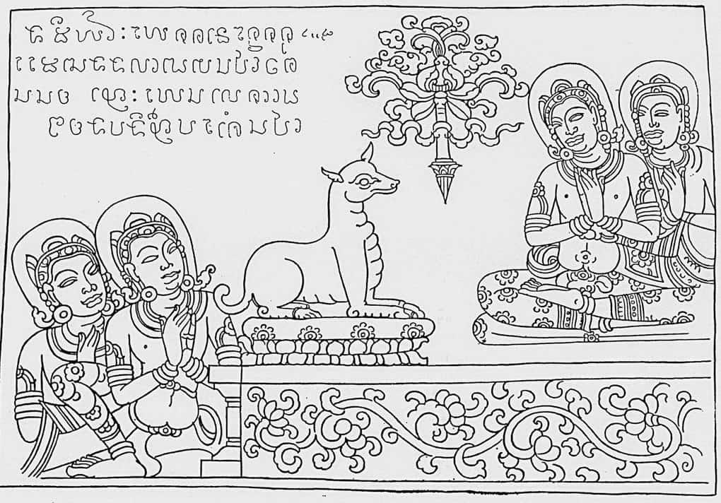 Grafik einer Jataka Tafel im Wat Sie Chum in Sukhothai