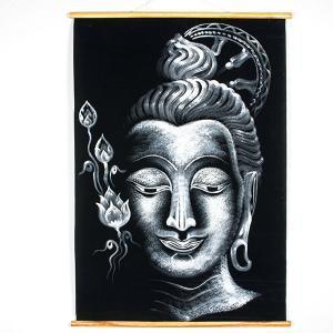 Buddha Wandteppich schwarz / weiß
