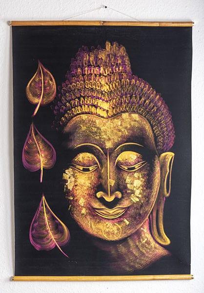 Wandteppich Buddha-Abbildung in Gold-Lila auf schwarzen Samtgrund