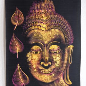 Wandteppich Buddha-Bildnis in Gold - Lila