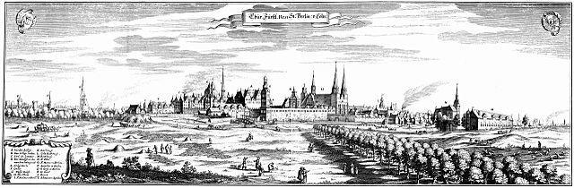 Historischer Stich von Berlin 1652