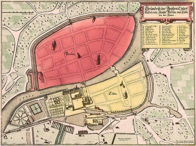 Historischer Plan der Lage der Städte Berlin und Coelln von 1888