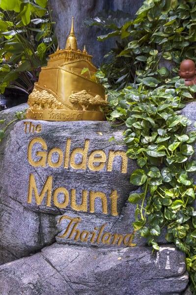 Eingangsschild zum Golden Mount - Wat Saket Bangkok eine Sehenswürdigkeit in Bangkok
