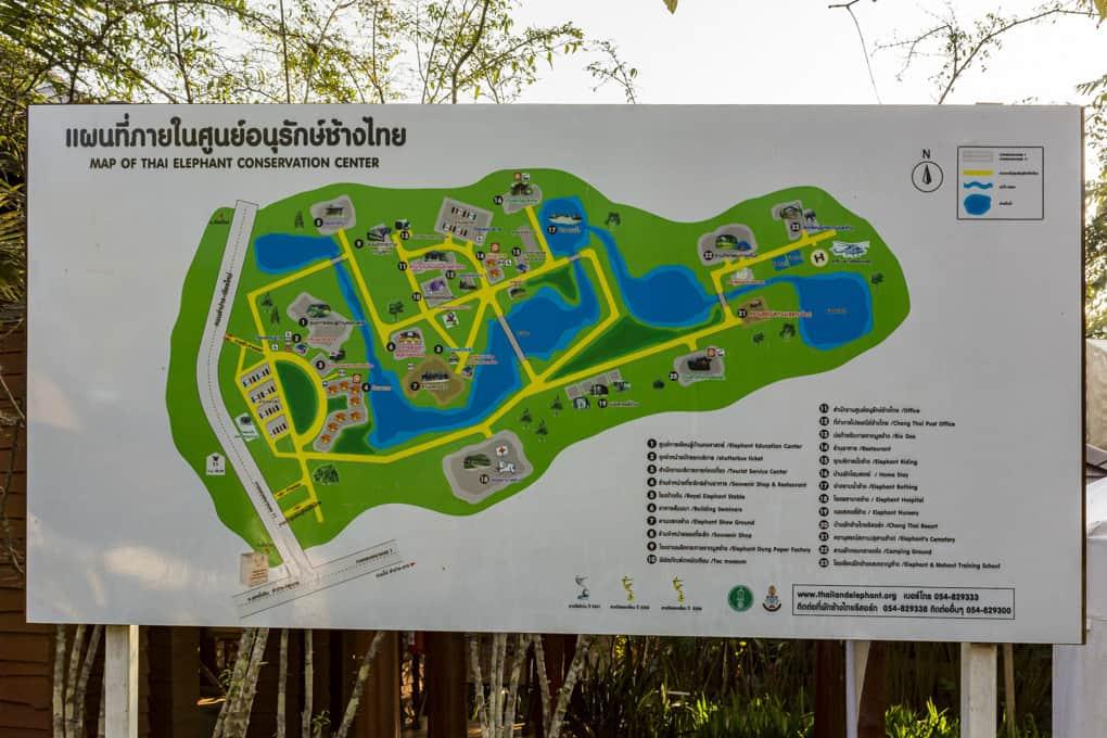 Lageplan der einzelnen Stationen im Elephant Conservation Center Lampang