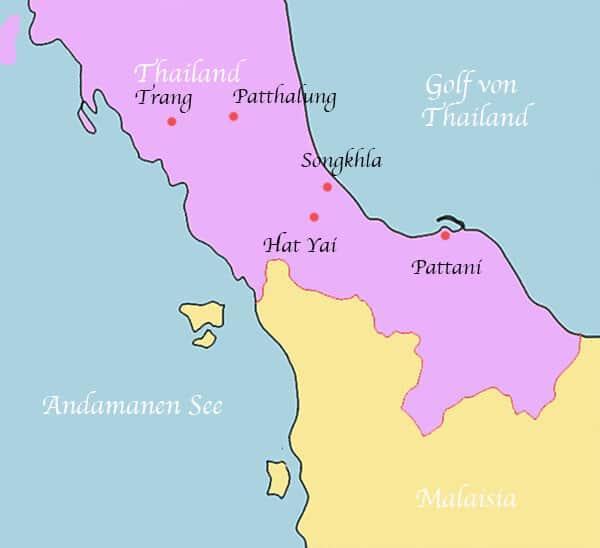 Heutige Lage Pattani und die Grenzregion - Die Geschichte Thailands Teil 6 - Langka Sukha bis Sultanat Pattani