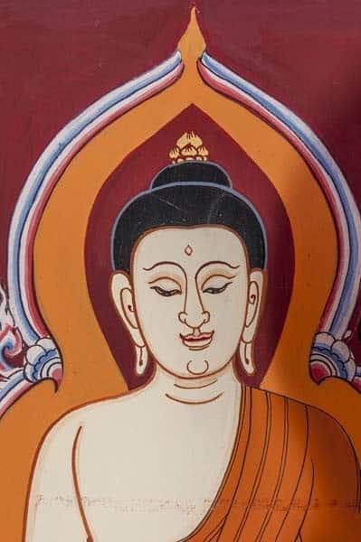 Buddha-Bildnis mit angedeutetem Schein