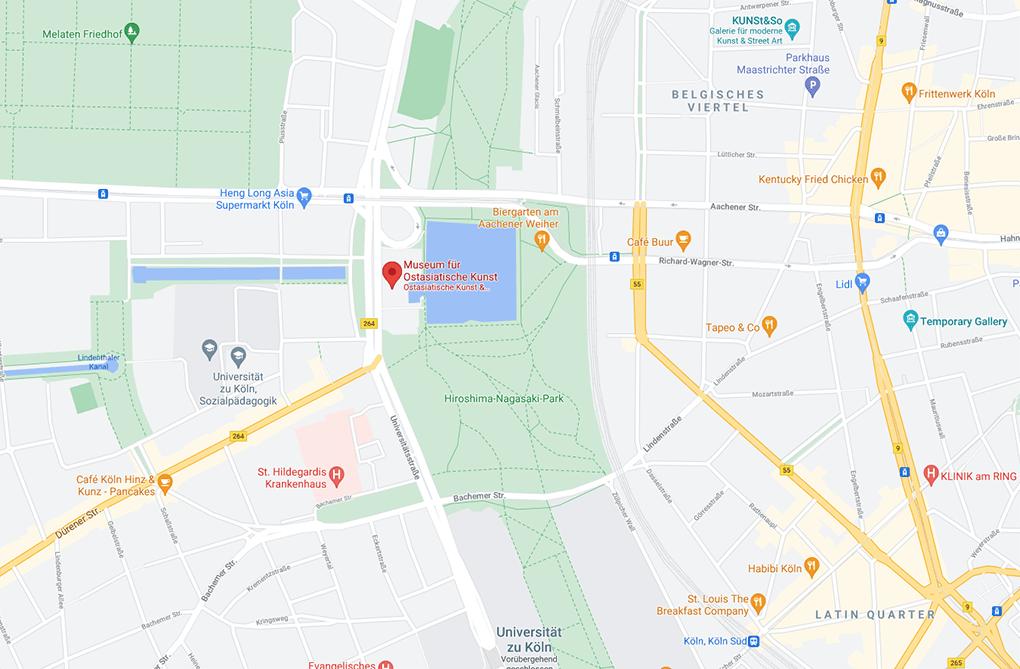 Karte für die Anfahrt zum Museum Ostasiatische Kunst koeln