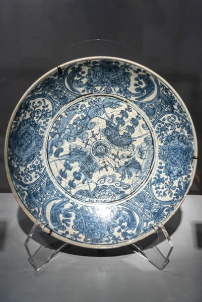 Blau bemalter chinesischer Teller in Unterglasur