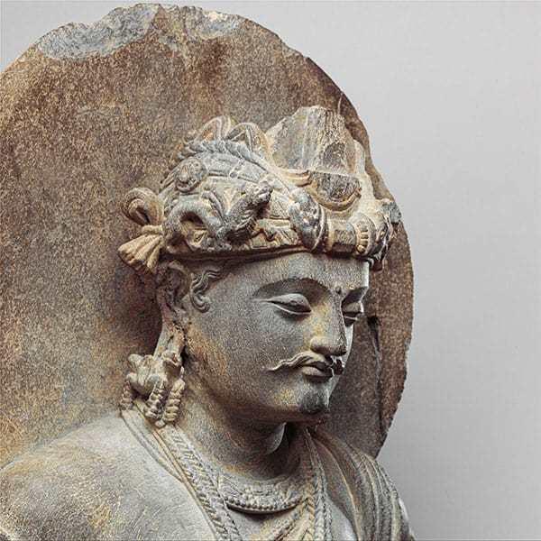Kopf einer frühen Darstellung des Boddhisattva Shakyamuni