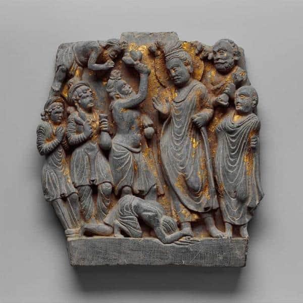 Steinrelieff - Die Geschichte vom Asketen und Buddha Dipankara